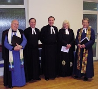 The Moderator of Glasgow Presbytery, Rev Alastair Cherry; the Presbytery Clerk, Rev David Lunan; Rev James Boag; the Interim Moderator, Rev Jeanne Roddick; The Minister at Govan Old, Rev Dr Norman Shanks at the induction of Rev James Boag to Broom Parish Church of Scotland, On Thursday 17 May 2007. Source John Dick.