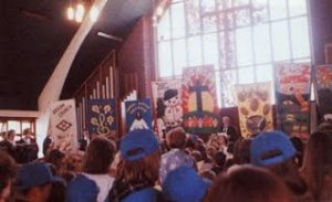 Fiftieth anniversary banners in the church, 1991. Source : Broom and its Church*.
